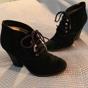 Michael Kors Black Suede Lace-up Bootie, 9.5